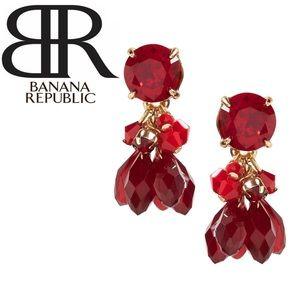 Banana Republic Red Cascading Bead Drop Earring